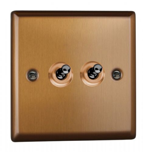 Varilight XYT2.BZ Urban Brushed Bronze 2 Gang 10A 1 or 2 Way Toggle Light Switch